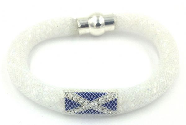 Scottish Starburst mesh bracelet kit - Silver foil  beads with white mesh - Makes 5 bracelets MK008